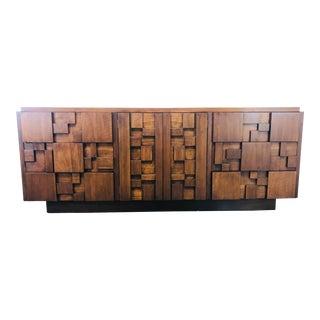 Lane Brutalist Mid-Century Modern Walnut Sculptural Dresser