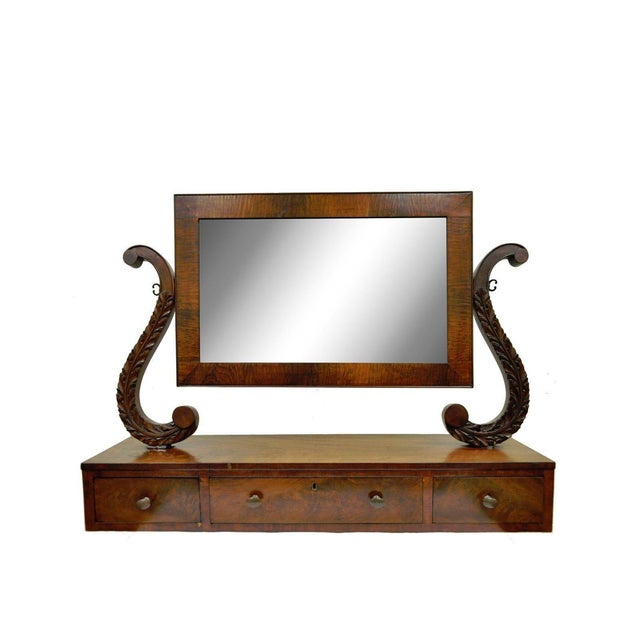 19th C. American Empire Carved Mahogany Shaving Vanity Mirror For Sale - Image 13 of 13