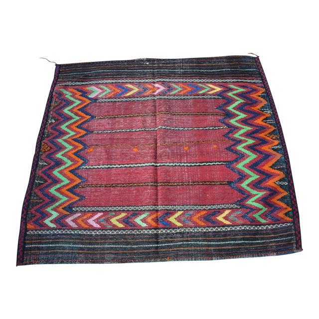 Handwoven Tribal Sofreh Kilim Rug -3′11″ × 4′3″ For Sale