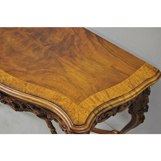 20th Century French Louis XV Carved Walnut Banded Console Table For Sale In Philadelphia - Image 6 of 11