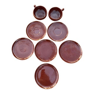 Russell Wright Black Chutney Dishes - Set of 8 For Sale