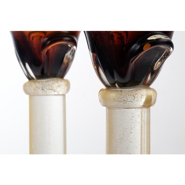 Glass Murano Amber & Avventurina Glass Candles Holders - A Pair For Sale - Image 7 of 10