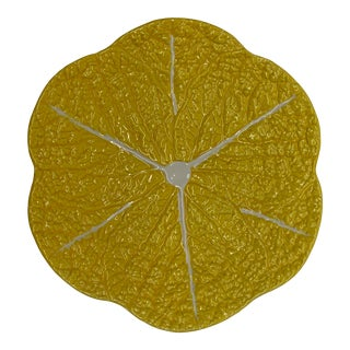 Portuguese Yellow Handmade Ceramic Lettuce Charger Plate For Sale