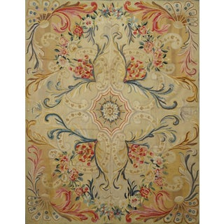 End of 19th Century Handwoven Antique Aubusson Rug For Sale