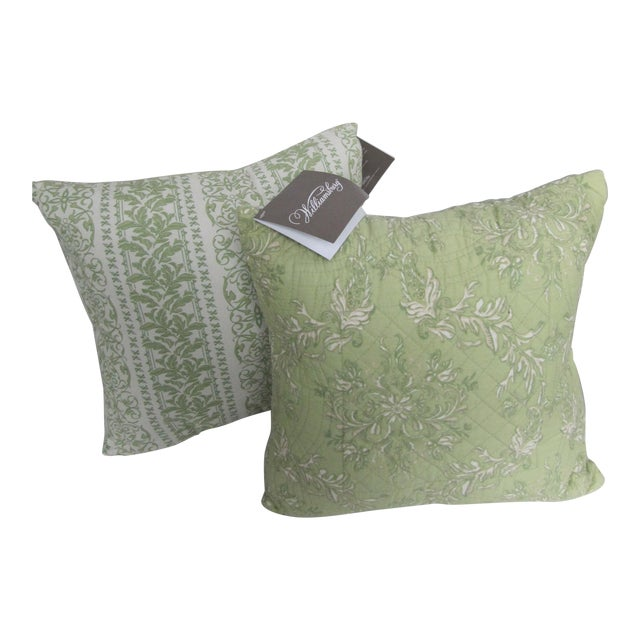 Williamsburg Quilted Toile Pillows-2 Pieces For Sale