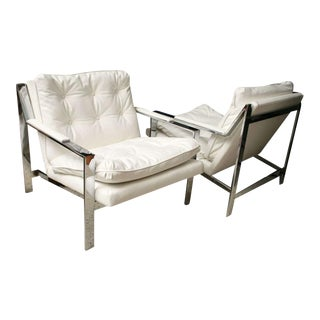 Pair of Cy Mann Polished Chrome Cube Chairs For Sale