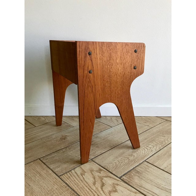 Brown 1960s Mid Century Modern Small Side Table Nightstand For Sale - Image 8 of 11