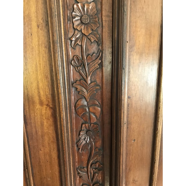 French Provincial Carved Wood Armoire - Image 4 of 8