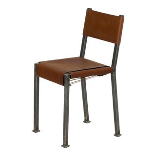 Industrial Welded Steel and Leather Accent Side Chair For Sale