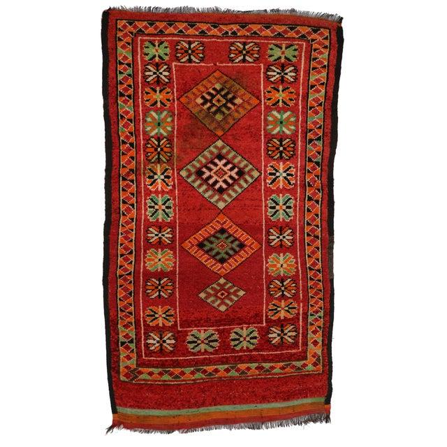 "Vintage Red Berber Moroccan Rug - 3'10"" x 6'6"" - Image 5 of 6"
