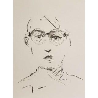 Jose Trujillo Original Portrait Eye Glasses Charcoal Paper Sketch Drawing For Sale
