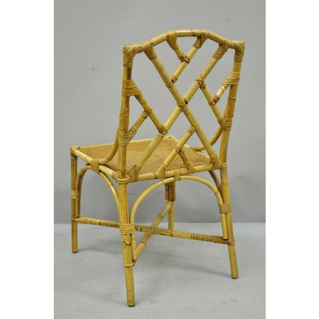 Chinese Chippendale Boho Chic Bamboo Rattan Faux Bamboo Dining Set - 5 Pieces For Sale - Image 11 of 13