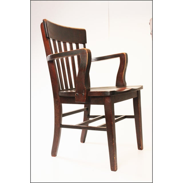 - Antique Wood Banker Armchairs - A Pair Chairish