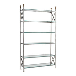 Steel Brass and Glass Directore Style Etagere After Maison Charles For Sale