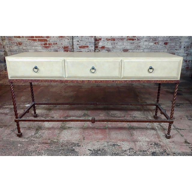 1950s Vintage Wrought Iron & Leather Top Sofa Table Console For Sale - Image 5 of 11