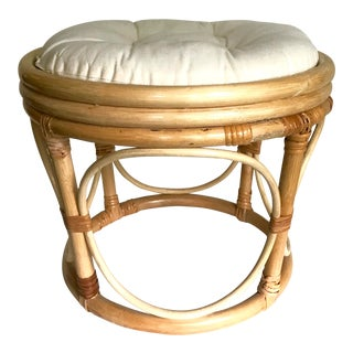 20th Century Boho Rattan Stool With Cushion For Sale