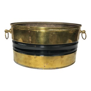 Vintage Oval Brass & Black Planter Decor Piece For Sale