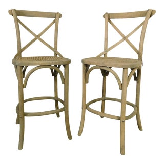 Restoration Hardware Pair Madeleine Bentwood Armless Counter Barstool For Sale