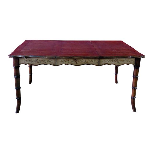 20th Century Chippendale Faux Bamboo Dining Room Table For Sale