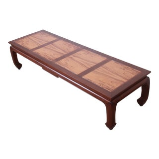 Michael Taylor for Baker Chinoiserie Rosewood and Walnut Coffee Table, Newly Restored For Sale