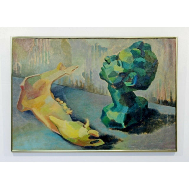 Canvas Mid Century Modern Framed Impressionist Oil Canvas Painting Signed B. Rosenbaum For Sale - Image 7 of 7