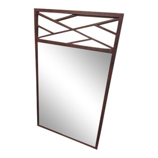 Fretwork Pattern Red Earth Finish Custom Made Iron Mirror For Sale