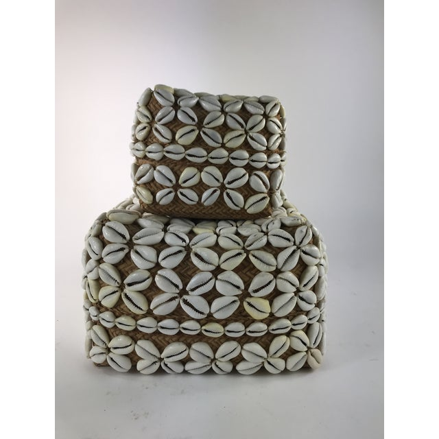 1970s Vintage Cowrie Shell Covered Baskets - A Pair For Sale - Image 10 of 10