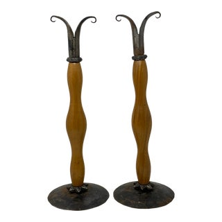 Studio Made Abstract Wood and Metal Candlesticks - a Pair For Sale