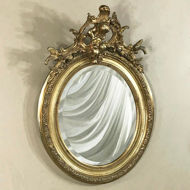 French 19th Century French Louis XV Gilded Mirror With Cherub For Sale - Image 3 of 11