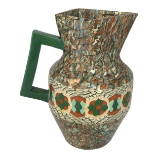 French Vallauris Clay Mosaic Pitcher Vase by Master Ceramicist Jean Gerbino