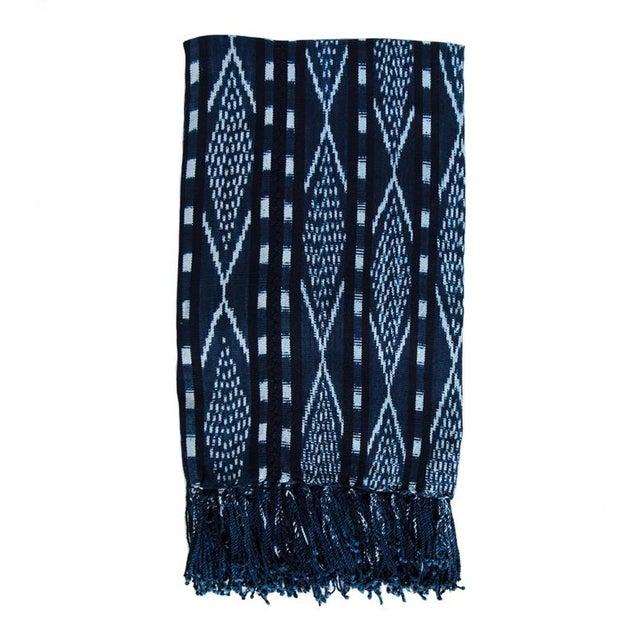 Guatemalan Indigo & White Ikat Blanket - Image 1 of 2
