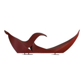 1990s Rustic Red Modern Abstract Outdoor Steel Sculpture For Sale