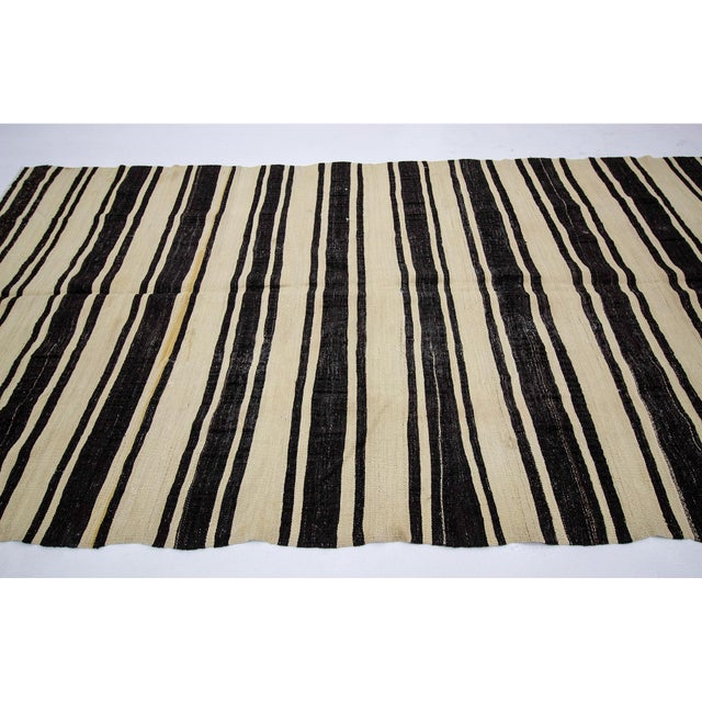 Contemporary 1960s Vintage Striped Natural Kilim Rug- 5′10″ × 11′3″ For Sale - Image 3 of 7