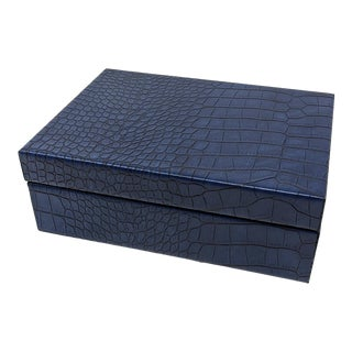 Faux Crocodile Leather Navy Blue Covered Box - For Sale