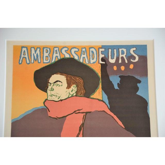 "Toulouse-Lautrec Framed Lithograph Print ""Aristide Bruant - Ambassadeurs"" by Henri De Toulouse-Lautrec For Sale - Image 4 of 13"