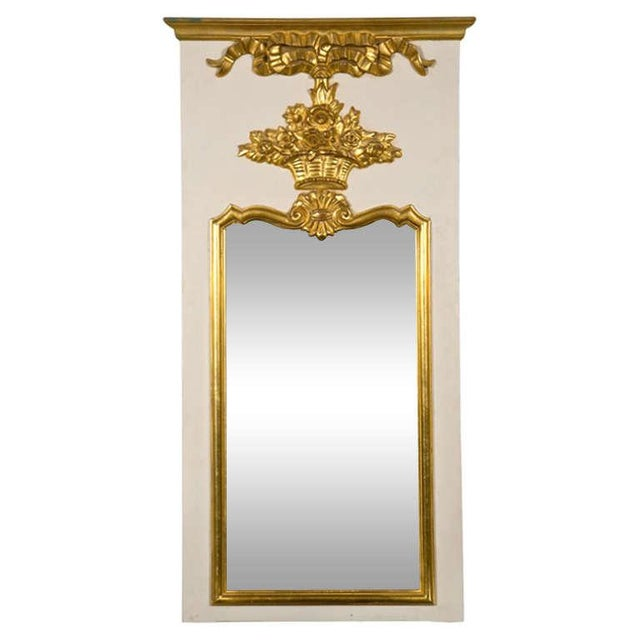 French Louis XVI Style Painted and Parcel Gilt Trumeau Mirror Exquisite Detail For Sale