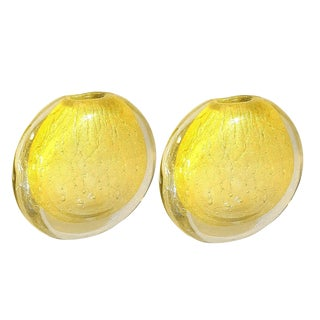 1970s Vintage Round Gold & Clear Murano Glass Vases, by Seguso- a Pair For Sale