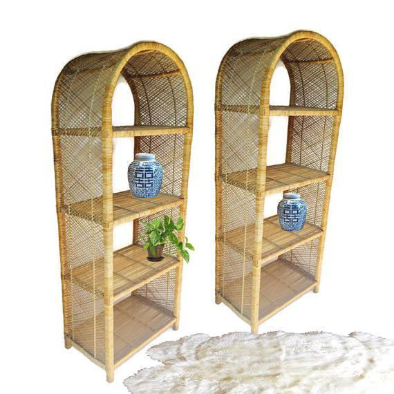 1970s Vintage Rattan Etagere Arched Bookcases - A Pair For Sale - Image 10 of 12
