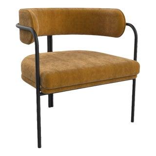 Mustard Velvet Fabric Metal Black Frame Armchair For Sale