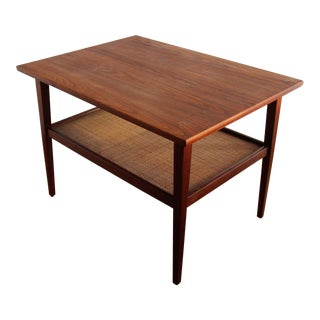 Mid-Century Modern Teak & Cane End Table