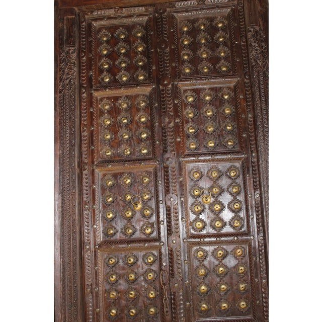 Anglo-Indian Antique Indian Brass Medallion Carved Teak Haveli Double Doors  For Sale - Image - Antique Indian Brass Medallion Carved Teak Haveli Double Doors