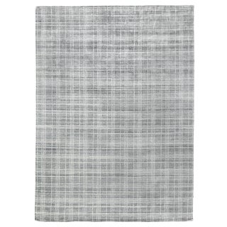"Cambridge Hand loom Bamboo/Silk Gray/White Rug-6'x9"" For Sale"