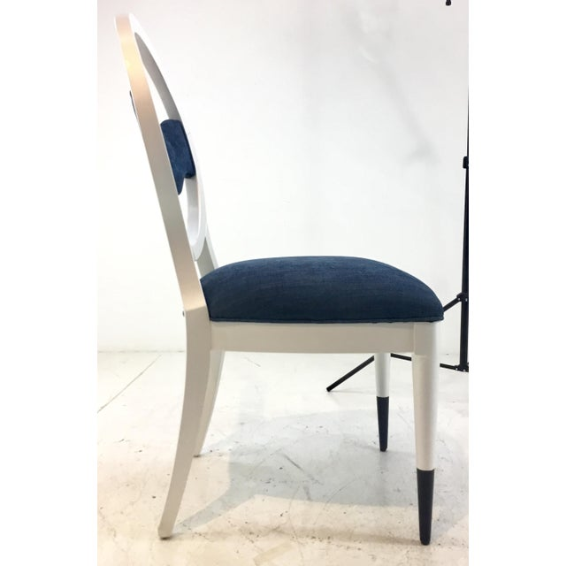 Wood Caracole Modern Prototype Blue and White Wave Dining Chairs Set of Ten For Sale - Image 7 of 9