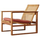 Image of Børge Mogensen 2256 Oak and Cane Sled Lounge Chair, Fredericia, Denmark, 1950s For Sale