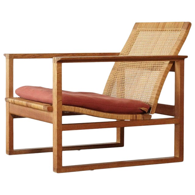 Børge Mogensen 2256 Oak and Cane Sled Lounge Chair, Fredericia, Denmark, 1950s For Sale