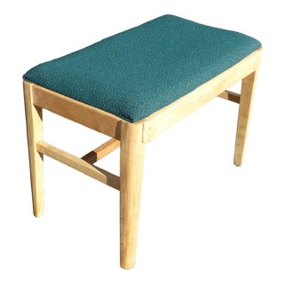 Vintage Mid Century Solid Wood Turquoise Bench Russell Wright Stardust For Sale