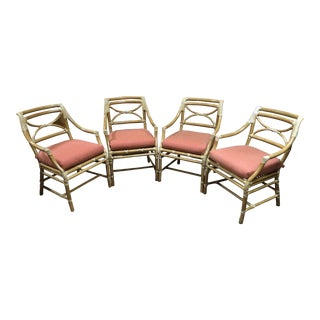 McGuire Regency Bamboo Armchairs - Set of 4 For Sale