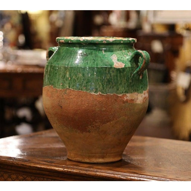 Ceramic 19th Century Green Glazed Pottery Confit Pot From Southwest France For Sale - Image 7 of 7