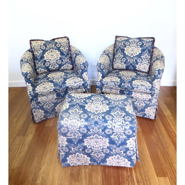 Vintage Pair Barrel Chairs & Ottoman - S/3 - Image 2 of 11