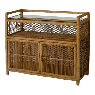 Mid-Century Woven Rattan Cabinet For Sale
